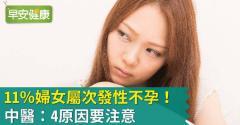 11%婦女屬次發性不孕!中醫:4原因要注意