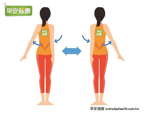 手心朝內並向後夾緊,讓兩側肩胛骨盡量貼近,擺動手臂瘦身