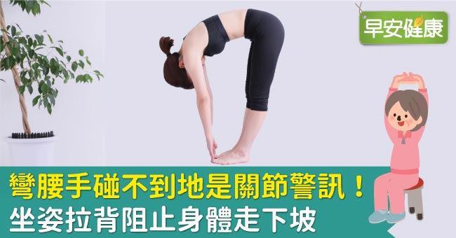 彎腰手碰不到地是關節警訊!坐姿拉背阻止身體走下坡