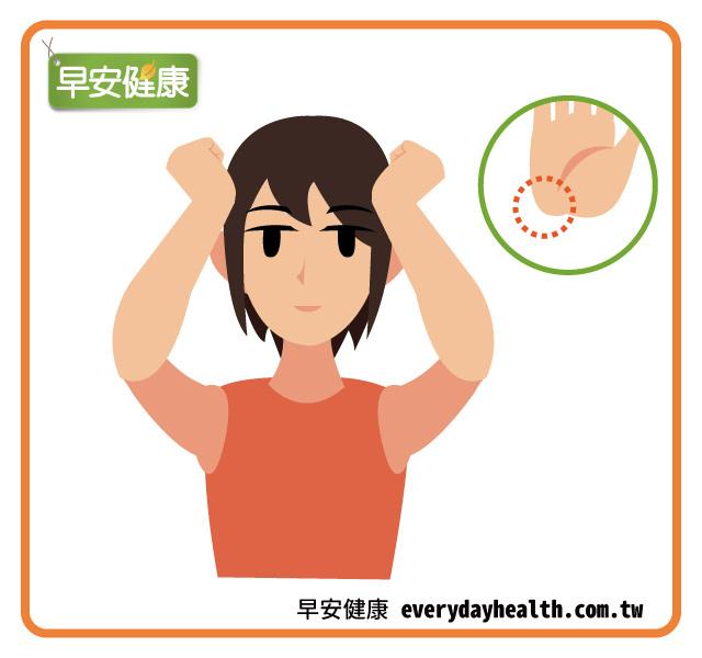 手指關節按摩頭部預防偏頭痛