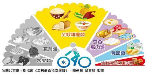 彩色表示含油脂:全榖雜糧類、豆魚蛋肉類、乳品類、油脂與堅果種子類,灰色表示不含油脂:蔬菜類、水果類。