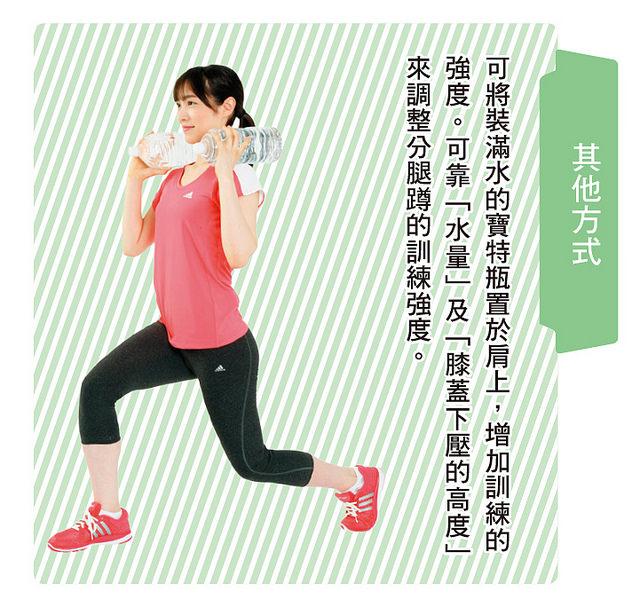 將裝水的寶特瓶置於肩上能增加訓練強度,幫助鍛鍊與瘦身。