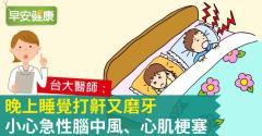 晚上睡覺打鼾又磨牙,小心急性腦中風、心肌梗塞