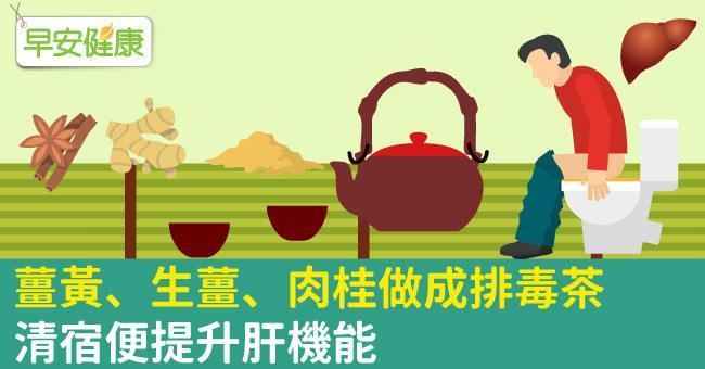 薑黃、生薑、肉桂做成排毒茶,清宿便提升肝機能