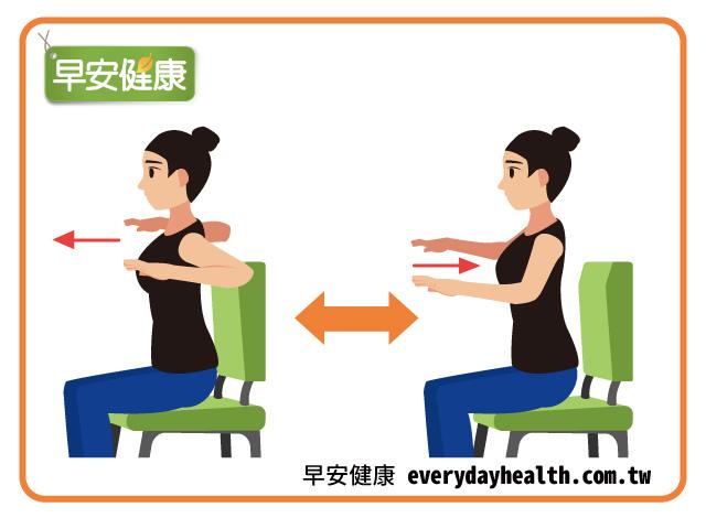 手肘與肩膀同高前後伸展活動肩胛骨改善脊椎管狹窄症