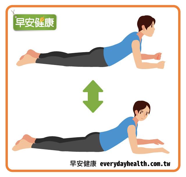 手肘撐地向後轉頭扭腰瘦肚子