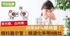 10年80%眼病變!眼科醫示警:眼退化失明4病灶