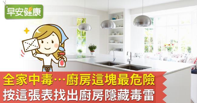 全家中毒…廚房這塊最危險!按這張表找出廚房隱藏毒雷