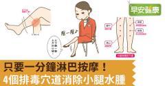 只要一分鐘淋巴按摩!4個排毒穴道消除小腿水腫