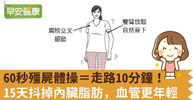 60秒殭屍體操=走路10分鐘!15天抖掉內臟脂肪,血管更年輕