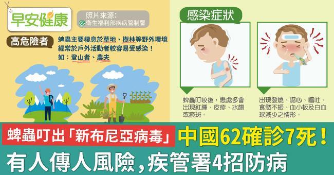 蜱蟲叮出「新布尼亞病毒」中國62確診7死!有人傳人風險,疾管署4招防病