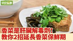 香菜是肝臟解毒劑!延長香菜保鮮期2招保持翠綠不變黑