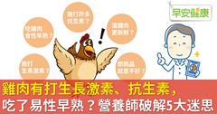 雞肉有打生長激素、抗生素,吃了易性早熟?營養師破解5大迷思
