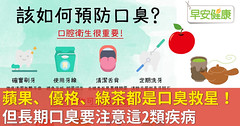 蘋果、優格、綠茶都是口臭救星!但長期口臭要注意這2類疾病