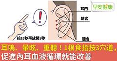耳鳴、暈眩、重聽!1根食指按3穴道,促進內耳血液循環就能改善