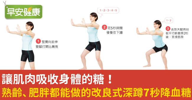 讓肌肉吸收身體的糖!熟齡、肥胖都能做的改良式深蹲7秒降血糖