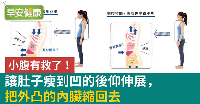 小腹有救了!讓肚子瘦到凹的後仰伸展,把外凸的內臟縮回去