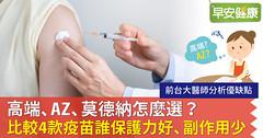 高端、AZ、莫德納怎麼選?前台大醫師比較4款疫苗:誰保護力好、副作用少?