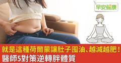 就是這種荷爾蒙讓肚子囤油、越減越肥!醫師5對策逆轉胖體質